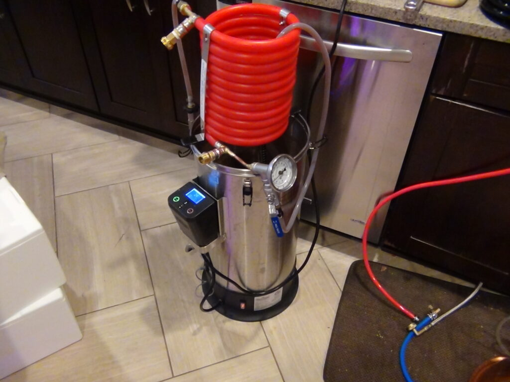 Brewing set up using Grainfather and Exchilerator wort chiller